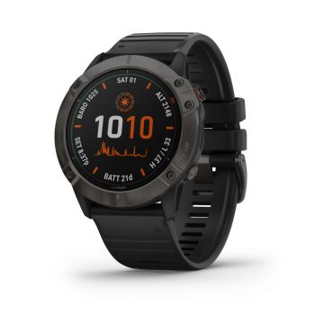 GARMIN FENIX 6X - PRO AND SAPPHIRE - CARBON GREY DCL WITH BLACK BAND